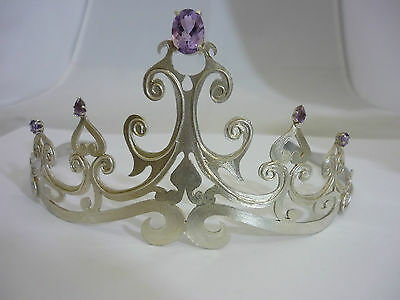 Stunning Large & Unique Sterling Silver & Amethyst Tiara - Exchange Findings Ltd