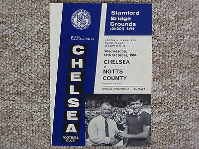Chelsea v Notts County League Cup 3rd Round 1964/65 mint condition