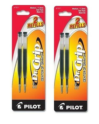 4 PILOT Dr. Grip Center of Gravity Ballpoint Ink Refill,  Medium Black