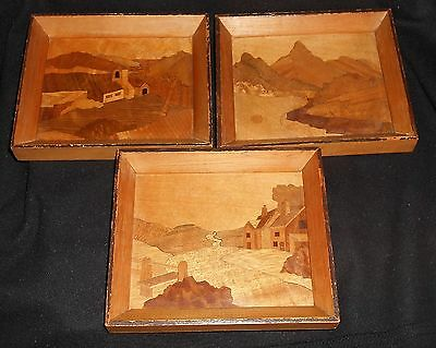 Set of 3 Small Vintage Marquetry Inlaid Wooden Pictures