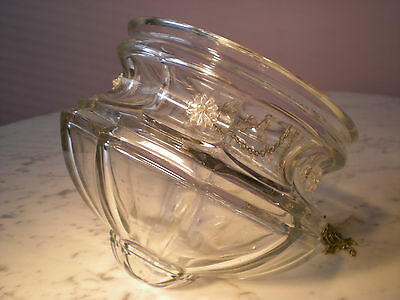 Lovely Heavy Old Cut Glass Bowl Shade On Chains Sparkling Elegant