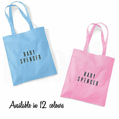 Personalised Baby Changing Nappy Cotton Tote Bag- BABY SHOWER GIFT- 12 colours
