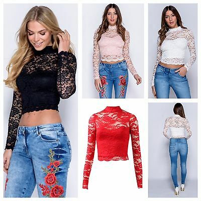New Womens Ladies Lined Long Sleeve High Neck Scalloped Hem Floral Lace Crop Top