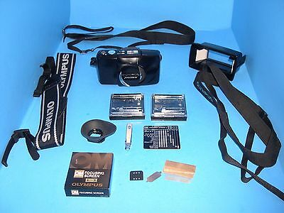 Olympus lot - straps eye cup #4 focus screen Zoom 140 All Weather camera & more
