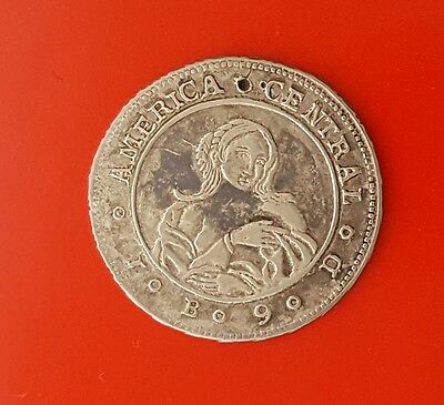 1850 COSTA RICA Silver 1 Real (COFFEE TREE & WOMAN) Scarce Coin