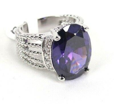 Purple Amethyst gemstone simulated Solitaire ladies silver ring size 7 R*3931