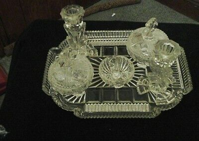 Stunning Cut Glass Dressing Table Tray Set.vintage