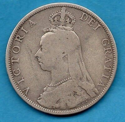 1890 Florin Coin. Queen Victoria Jubilee Head Sterling Silver 2/-. Two Shillings