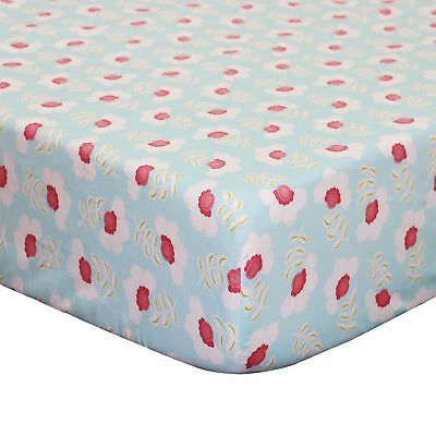 Mila Coral and White Floral Cotton Crib Toddler Fitted Sheet by Peanut Shell