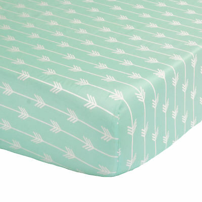 Mint Green Arrow Print 100% Cotton Sateen Fitted Crib Sheet by The Peanut Shell