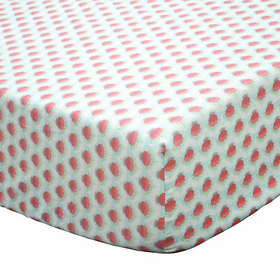 Gia Coral Pink Floral Cotton Baby Girl Fitted Crib Sheet Toddler