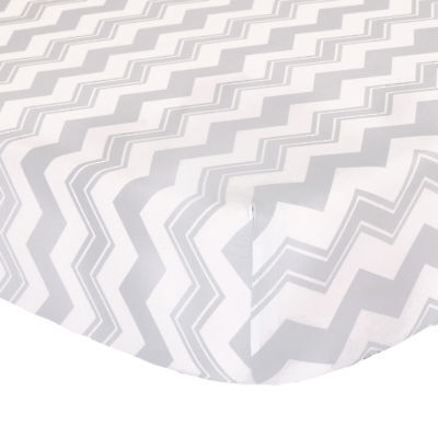 Grey Zig Zag Fitted Toddler Crib Sheet - 100% Cotton Sateen Chevron Design