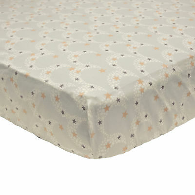 Nuit Fitted Crib Toddler Sheet Moons Stars  Gray Gold by Petit Tresor