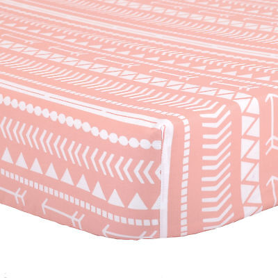 Coral Pink Tribal Print 100% Cotton Sateen Fitted Crib Sheet by The Peanut Shell
