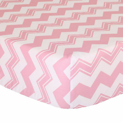 Pink Zig Zag Fitted Crib Sheet - 100% Cotton Sateen Chevron Design
