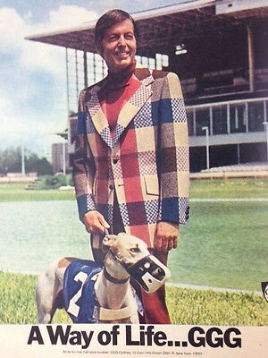 1972 Vintage Print Ad GGG 70s Greyhound Racing Dog and Man Male Fashion