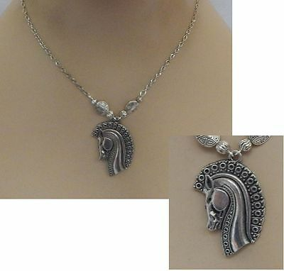 Silver Trojan Horse Style Pendant Necklace Jewelry Handmade NEW Adjustable