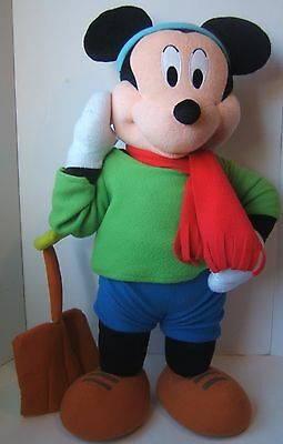 """Mickey Mouse 26"""" Tall Stand Up Plush Stuffed Toy Disney Winter Shovel Scarf"""