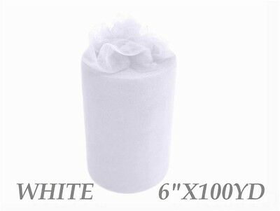 6inch x 100yd Quality Tulle Roll - White