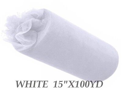 15inch x 100yd Tulle Roll - White (22)