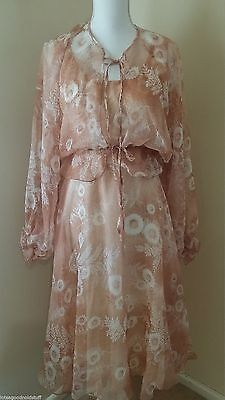 Vintage 60s 70s Sheer DRESS with MATCHING JACKET size 12 14