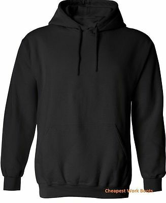 1 x Hoodie Jumper Hood Sweatshirt Adult Plain Black Kangaroo Pocket WinterWarm