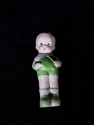 Bisque Frozen Charlotte Doll Boy with book Made in Japan