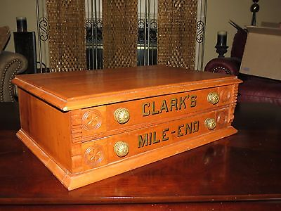 Antique 2 Drawer Clarks Mile End Spool Thread Cabinet Counter Store Display