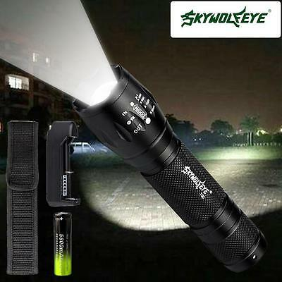 SKYWOLFEYE Zoomable 8000 Lm CREE LED torche Police 5 Modes concentrent lampe AF