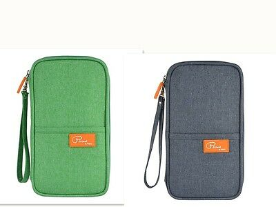 (2Set) P. Travel Passport Holder Wallet Card Cover with strap Linen Gray + Green