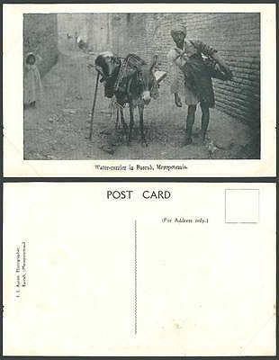 IRAQ Old Postcard Mesopotamia Water Carrier in Basrah Donkey Native Street Basra