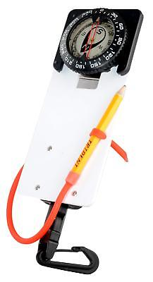 Trident Scuba Diving Slate and Pencil with Retractor and Compass