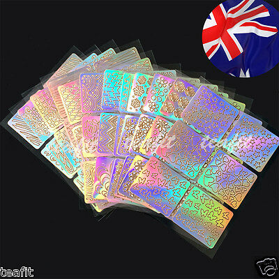 24 Sheet New Vinyls Nail Art Stencil 3D Hollow Stickers Stamping Manicure Decals