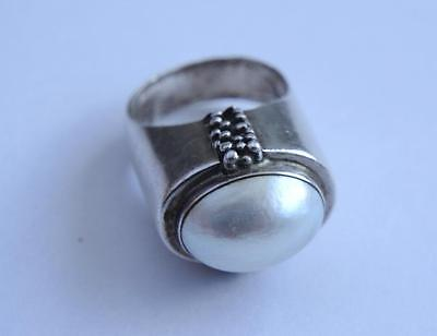 Michael Dawkins 925 Sterling Silver Pearl Ring Size 7