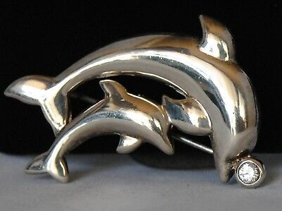 Sterling Silver Dolphin Pin Brooch Cubic Zirconia .925