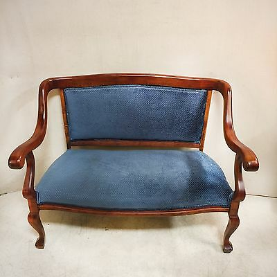 Blue Velvet Victorian Sette with Gently Curved Arms and Queen Ann Legs $295