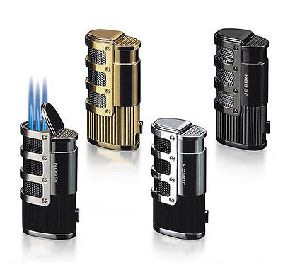 Wedding Triple Nozzles Windproof Adjustable Torch Flame Butane Jet Cigar Lighter