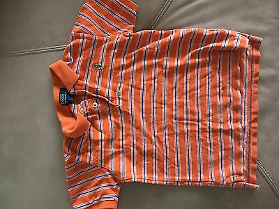 RALPH LAUREN Boys Orange Polo Shirt Size 6 Years oldStriped w Green Horse Logo