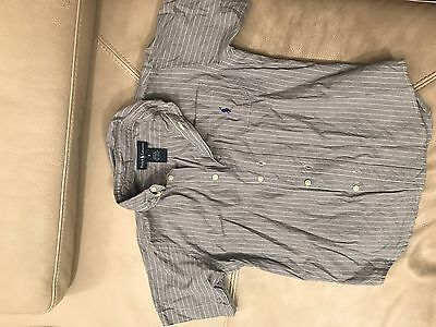 RALPH LAUREN Boys Button Down Short Sleeve Shirt Blue Striped Size 6 Years Old