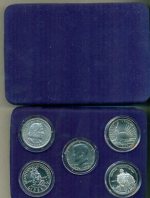 100 Years Of Commemorative Half Dollars 5 Coins In Nice Case With Coa.