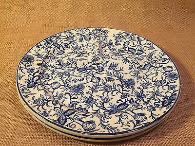Set of 2 Jacobian Blue Onion Style Print Divided Dinner or Grill Plates No Mark