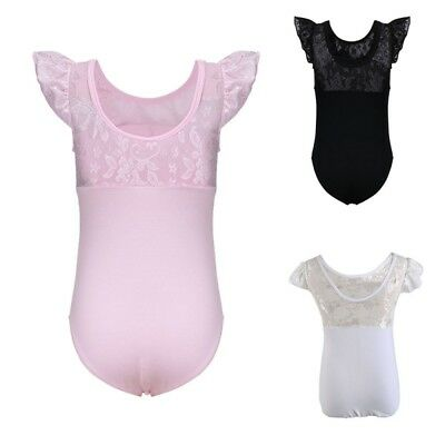 Kids Girls Gymnastic Bodysuit Lace Fly Sleeve Ballet Leotards Dancewear Clothes