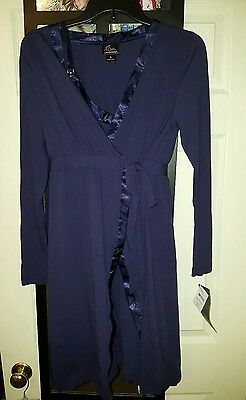 NWT Motherhood Oh Baby!  Maternity Gown And Robe 2 Piece Set Navy  Sz S