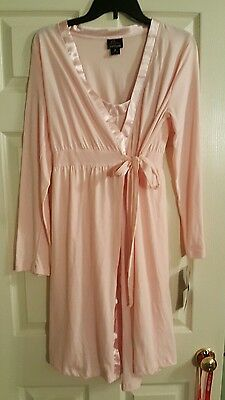NWT Motherhood Oh Baby!  Maternity Gown And Robe 2 Piece Set Pink Sz S