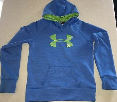 Under Armour Hooded Pullover SweatShirt Extra Large Youth Size Blue & Green