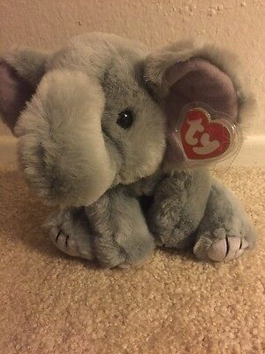 Ty Spout Gray Elephant Bean Bag Baby Plush Stuffed Animal Toy 1997 NWT