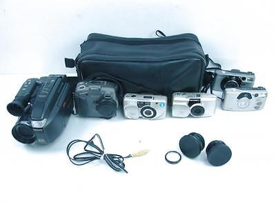 Lot of 6 Vintage Film & Digital Cameras & Camcorder Olympus Canon Kodak w Bag