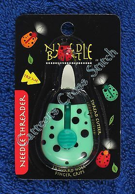 Needle Beetle LED Light Wire Needle Threader Thread Cutter Green Cross Stitch