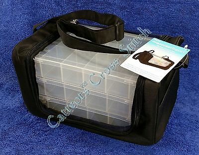 Nylon Organiser Bag Tote + 3 Cross Stitch Floss Boxes Bead Trays Craft
