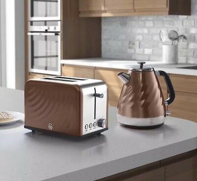 Swan Twist Kettle and Toaster Set   - Copper